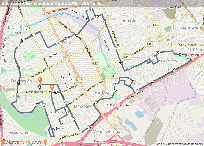 Edenvale Marathon Route Map